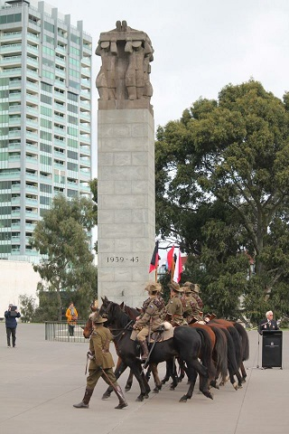 The Creswick Light Horse Troop leads Anzac Centenary Commemoration March